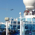 Blue Angels flying over the ship.