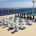 One of the many crazy things you can enjoy on a ship. Giant chess!