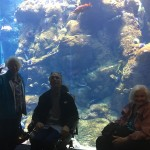 Residents stop and pose in front of the large amazon tank.
