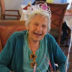 Juanita wore a tiara to her 101st birthday party.