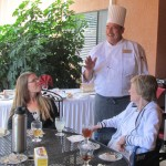 Chef David welcomes Fran's guests.